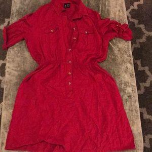 Red button up dress